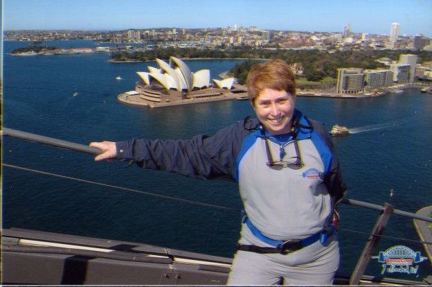 Margaret on top of Sydney Harbour Bridge with Opera House in background